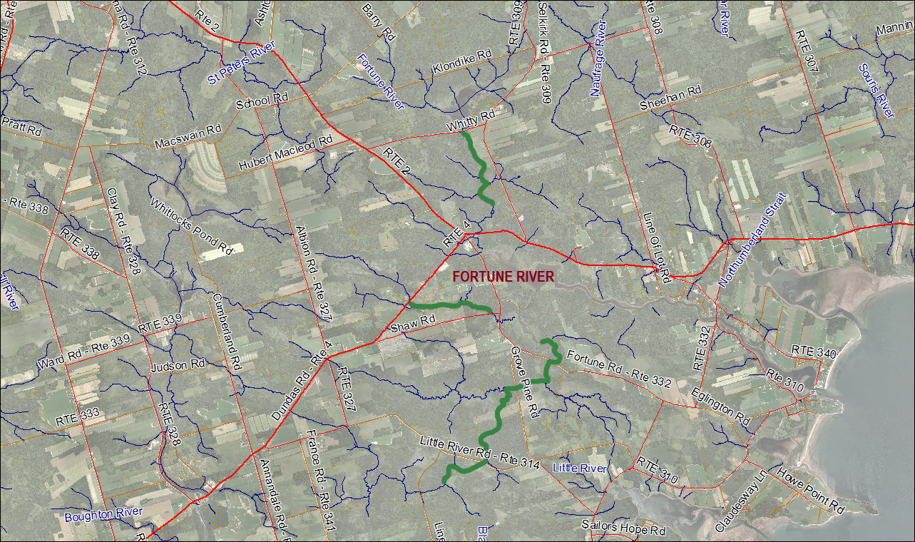 2018 Fortune River Stream Habitat Restoration Map