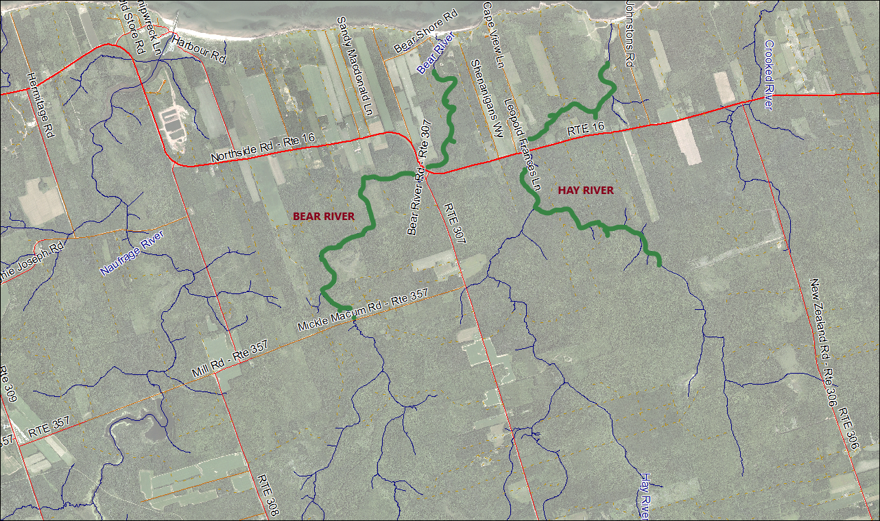 Hay and Bear Rivers Stream Habitat Restoration Map