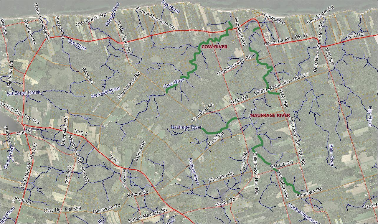 Naufrage and Cow Rivers Stream Habitat Restoration Map